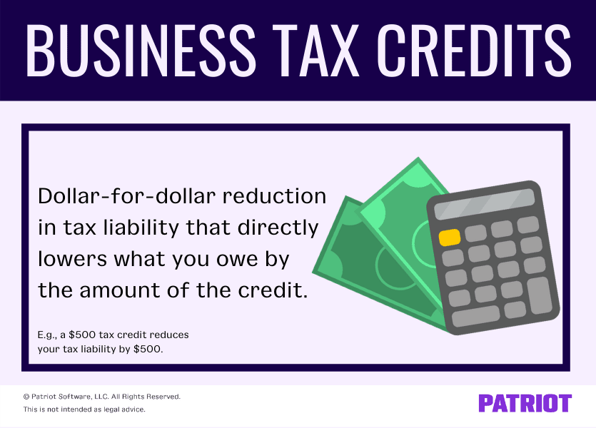 Business tax credits: dollar-for-dollar reduction in tax liability that directly lowers what you owe by the amount of the credit (e.g., a $500 tax credit reduces your tax liability by $500)